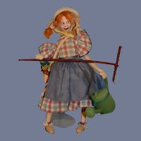 Vintage Cloth Doll Roldan Gardner W/ Rake and Watering Can
