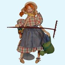 Vintage Cloth Doll Roldan Gardner W/ Rake and Watering Can