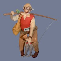 Vintage Roldan Doll W/ Tag Fisherman W/ Fish Fishing Pole Character
