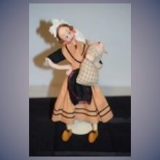Vintage Doll Cloth Doll Klumpe Character Doll Girl w/ Baby Pig