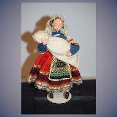 Vintage Cloth Doll Klumpe Roland Lady Holding Baby