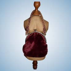 Old Doll Velvet Purse with Cord Charming