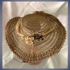 Old Doll Straw Hat Feathers Flowers Ornate