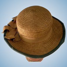 Old Doll Straw Hat Fancy Bow Charming