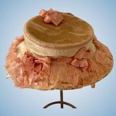 Old Doll Bonnet Hat Velvet Lace Bows Fashion Doll