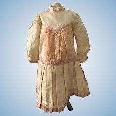 Vintage Doll Dress Drop Waist Gorgeous Lace Panel