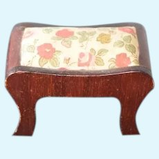 Old Miniature Doll Wood Upholstered Bench Floral Dollhouse