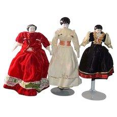 Antique China Head Doll Set Miniature Dollhouse Three Dolls