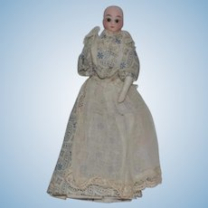 Antique Miniature Doll  Bisque Solid Dome Glass Eyes Dressed Wonderful Dollhouse Lady
