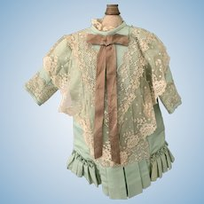 Wonderful Hand Made Dress W/ Fancy Lace Pleated For Doll