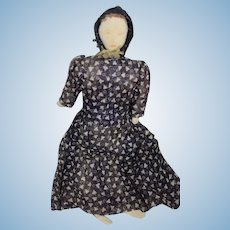 Old Cloth Doll Rag Doll Folk Art Sweet Drawn on Features