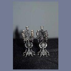 Wonderful Miniature Sterling Ornate Candelabra Set Doll Dollhouse