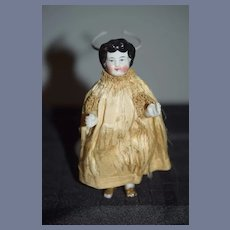 Antique Doll Miniature Frozen Charlotte Fancy Gold Shoes China Head