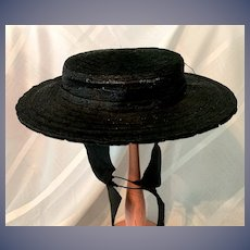 Old Wonderful Black Straw Doll Hat Gorgeous Bonnet