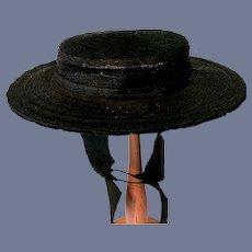 Old Wonderful Black Straw Doll Hat Gorgeous Bonnet