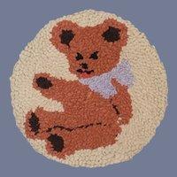 Old Teddy Bear Latch Hook Rug Wall Hanging Miniature Sweet