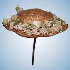 Wonderful Vintage Doll Straw Hat Bonnet W/ Flowers and Ribbon