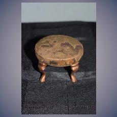 Old Miniature Doll Dollhouse Fancy Upholstered Stool Taylor & Reynolds