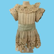 Wonderful Old Hand Made Doll Dress Fab W/ BeBe Pin French Market
