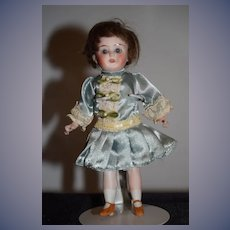 Antique Doll All Bisque Glass Eye Swivel Neck French loop Flapper Doll