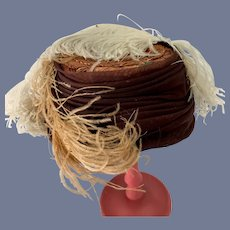 Old Fancy Doll Straw Hat Bonnet Feathers Charming
