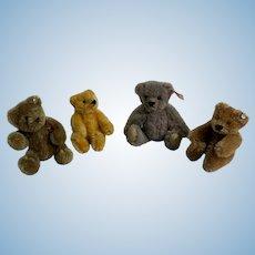 Steiff Miniature Teddy Bear Mohair Lot FOUR BEARS Button Tags Jointed