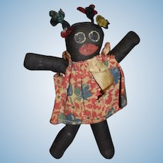 Old Miniature Black Cloth Doll Folk Art Painted Features Sweet