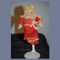 Old Cloth Doll Stockinette Painted Features Original Clothes