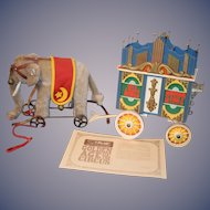 Steiff Golden Age of The Circus Elephant In Box 0135/22 Elephant on Wheels W/ Carriage Train