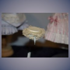 Wonderful Old Doll Bonnet Hat Lace Ribbon Sweet Miniature Petite