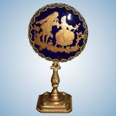 Wonderful Miniature Limoges Doll Porcelain Vanity Mirror on Stand Gorgeous