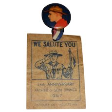 Vintage Boy Scouts  1947 We Salute You Pinback W/ Old Paper Father Son Dinner 25th Anniversary