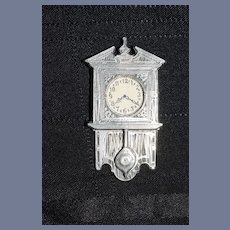 Vintage Doll Artist Pewter Miniature Wall Clock Signed Dollhouse