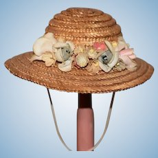 Vintage Straw Hat Bonnet Doll Made For Peggy Nisbet