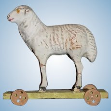 Old Miniature Doll Toy Lamb on Wheels Pull Toy Dollhouse