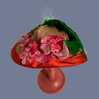 Wonderful Old Doll Straw Hat Bonnet W/ Feathers and Flowers
