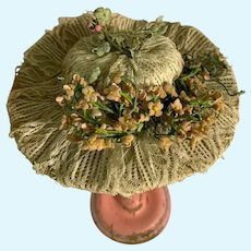 Wonderful Artist Made Doll Bonnet Lace & Flowers Fancy Hat