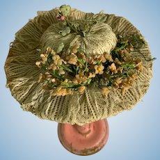 Wonderful Artist Made Doll Bonnet Lace & Flowers Fancy Hat