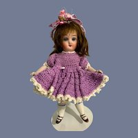Antique Doll Miniature All Bisque Swivel Neck Glass Eyes