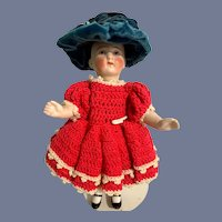 Antique Doll Miniature All Bisque Jointed Dollhouse Character Swivel Neck
