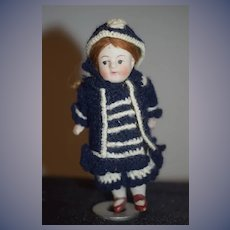 Antique Doll Miniature All Bisque Dollhouse Cute!