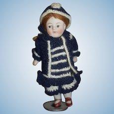 Antique Doll Miniature All Bisque Dollhouse Cute!