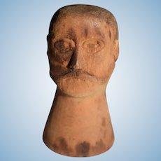 Old Wood Carved Doll Head Unusual Miniature Bust Dollhouse