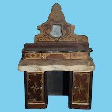 Antique Doll Miniature Marble Top Chest Biedermeier Desk Dollhouse