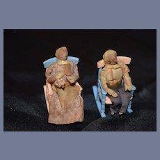 Old Folk Art Two Miniature Wood Nut Doll Set Dolls in Rocking Chair Dollhouse