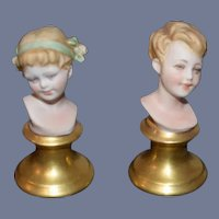 Old Doll Miniature Doll Bust Children Painted Porcelain on Pedestal Dollhouse Pair Capodimonte Signed
