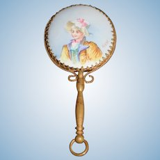 Antique Doll Miniature Hand Held Mirror Porcelain Hand Painted Victorian Lady Signed