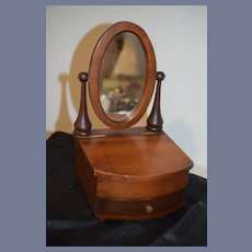 Old Doll Miniature Wood Vanity W/ Oval Swivel Mirror & Drawer Petite Size