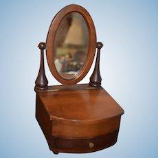 Old Doll Miniature Wood Vanity W/ Oval Swivel Mirror & Drawer Petite Size