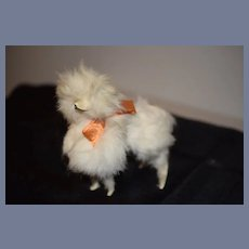 Old Fancy French Fur Dog For Fashion Doll W/ Old Satin Bow Glass Eyes Miniature Dollhouse